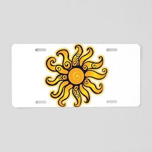 Swirly Sun Aluminum License Plate