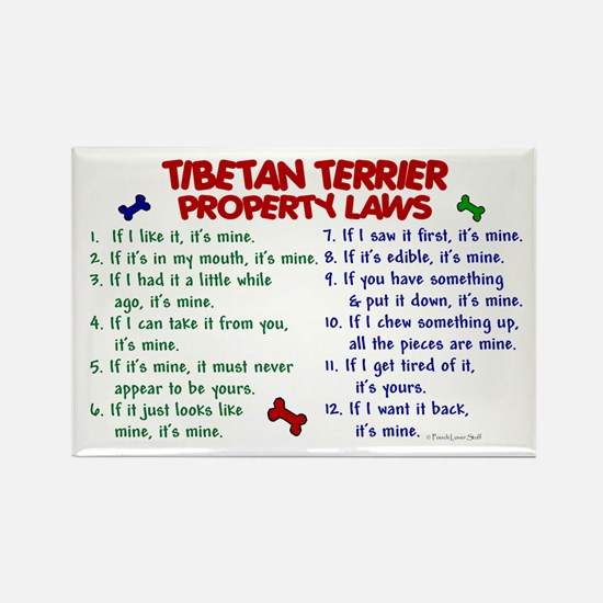 Tibetan Terrier Property Laws 2 Rectangle Magnet (