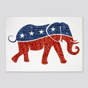 glitter republican elephant 5'x7'Area Rug