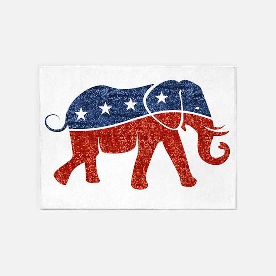 glitter republican elephant 5'x7'Area Rug
