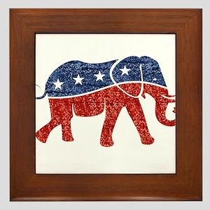 glitter republican elephant Framed Tile