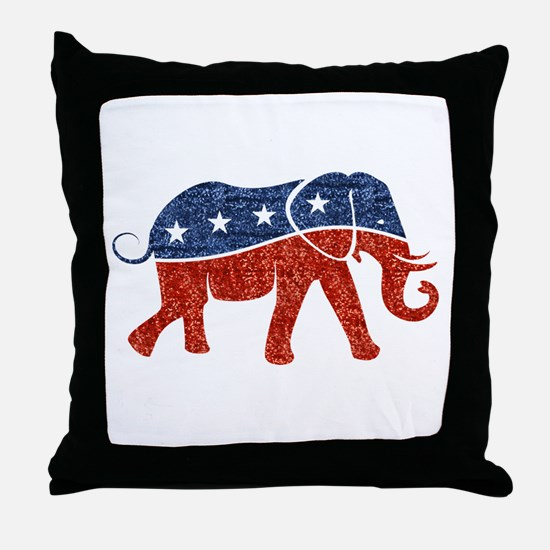 glitter republican elephant Throw Pillow
