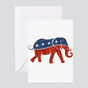 glitter republican elephant Greeting Cards