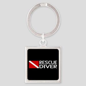 Diving: Diver Flag & Rescue Diver Square Keychain