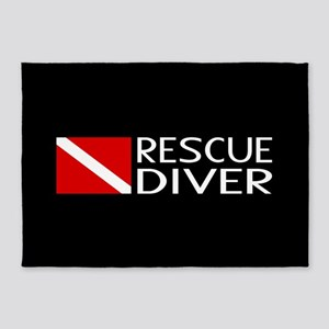 Diving: Diver Flag & Rescue Diver 5'x7'Area Rug