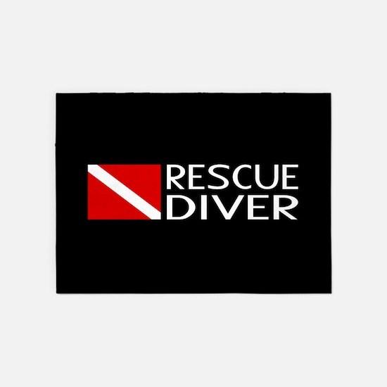 Diving: Diver Flag & Rescue Diver 5'x7'Area Rug