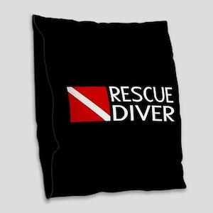 Diving: Diver Flag & Rescue Di Burlap Throw Pillow