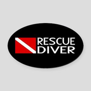 Diving: Diver Flag & Rescue Diver Oval Car Magnet