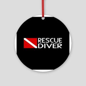 Diving: Diver Flag & Rescue Diver Round Ornament