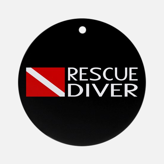 Diving: Diver Flag & Rescue Diver Round Ornament