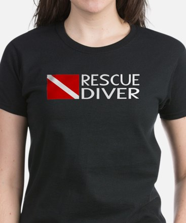 Diving: Diver Flag & Rescue D Women's Dark T-Shirt