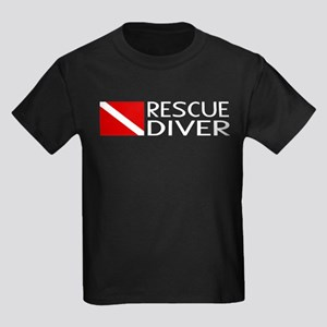 Diving: Diver Flag & Rescue Dive Kids Dark T-Shirt