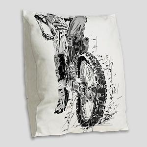 Motor Cross Burlap Throw Pillow