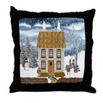 Winter Cottage Throw Pillow