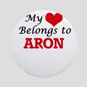 My heart belongs to Aron Round Ornament