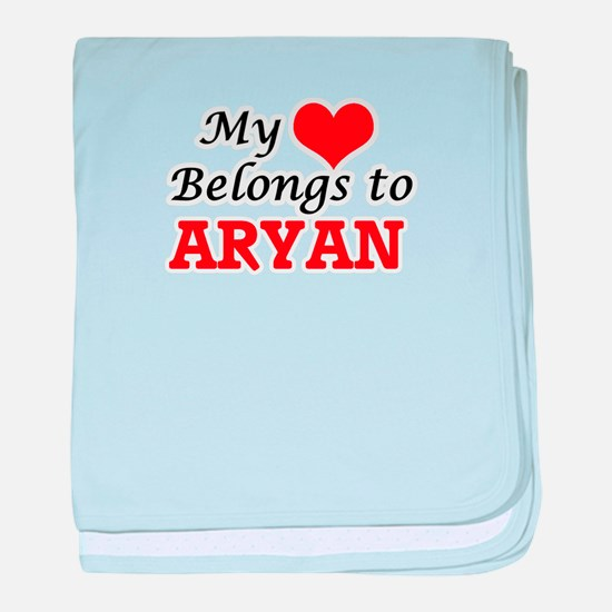 My heart belongs to Aryan baby blanket