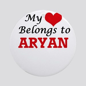 My heart belongs to Aryan Round Ornament