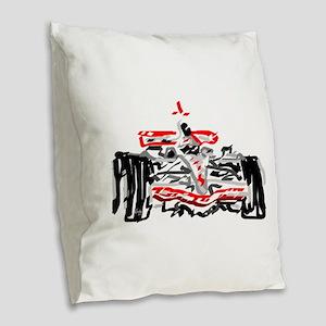 Race car Burlap Throw Pillow