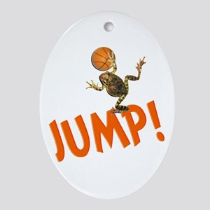 Basketball Jump Frog Oval Ornament