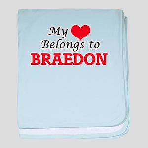 My heart belongs to Braedon baby blanket
