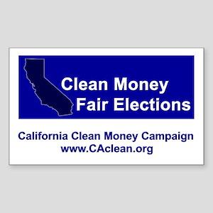 """""""Clean Money, Fair Elections"""" Rectangular Sticker"""