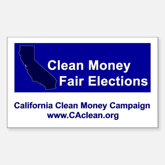 """Clean Money, Fair Elections"" Rectangular Decal"