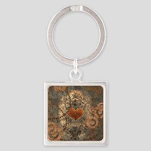 Steampunk, wonderful heart made of rusty metal Key