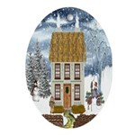 Winter Cottage Oval Ornament