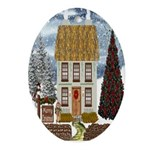Merry Christmas Cottage Oval Ornament