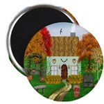 Autumn Cottage Round Magnets (10 pack)