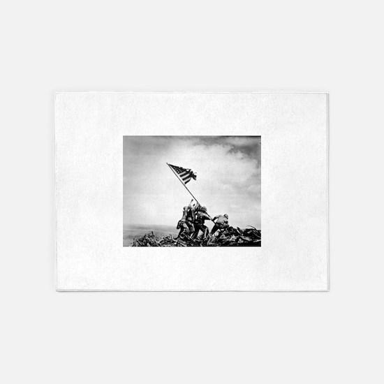 Iwo Jima, raising the flag 5'x7'Area Rug