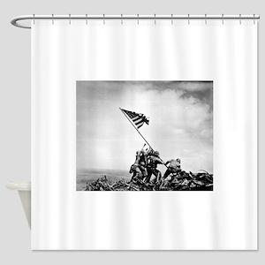 Iwo Jima, raising the flag Shower Curtain