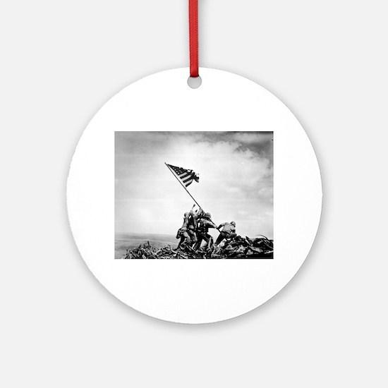 Iwo Jima, raising the flag Round Ornament