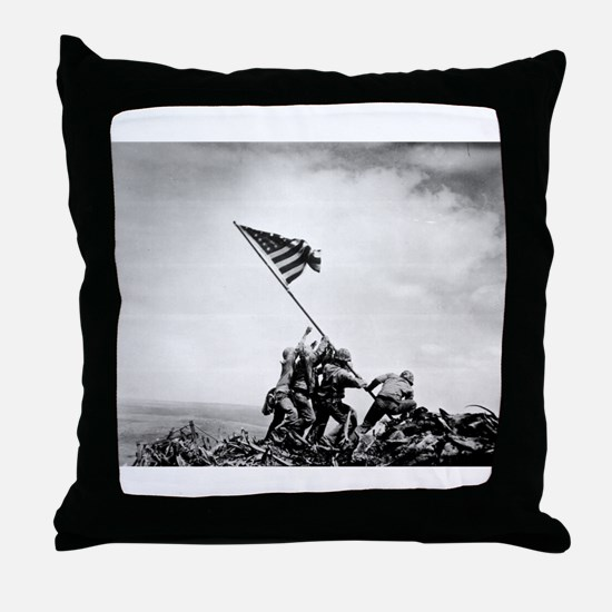 Iwo Jima, raising the flag Throw Pillow