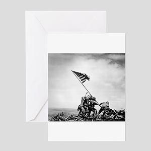 Iwo Jima, raising the flag Greeting Cards