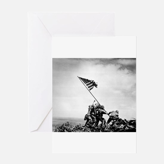 Iwo Jima, raising the flag Greeting Cards