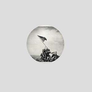 Iwo Jima, raising the flag Mini Button