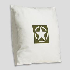 WW2 American star Burlap Throw Pillow