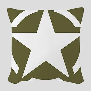 WW2 American star Woven Throw Pillow