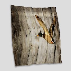 western barnwood wild duck Burlap Throw Pillow