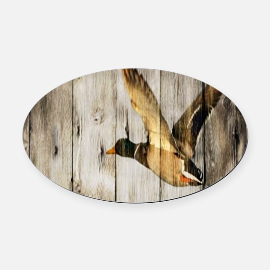 western barnwood wild duck Oval Car Magnet