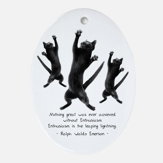 Enthusiastic Cats Oval Ornament