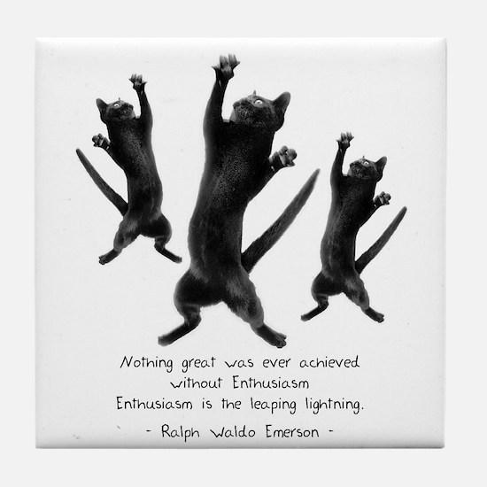 Enthusiastic Cats Tile Coaster