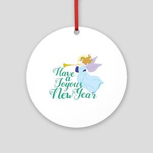 Joyous New Year Round Ornament