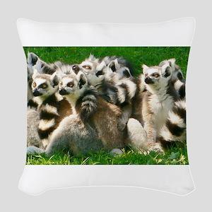 Lemurs Woven Throw Pillow