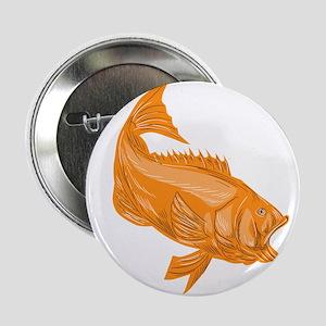 "Largemouth Bass Diving Drawing 2.25"" Button (10 pa"