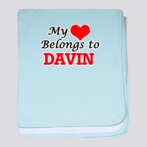 My heart belongs to Davin baby blanket