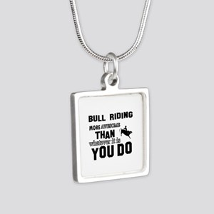 Bull Riding More Awesome T Silver Square Necklace