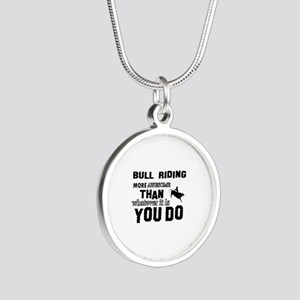 Bull Riding More Awesome Tha Silver Round Necklace