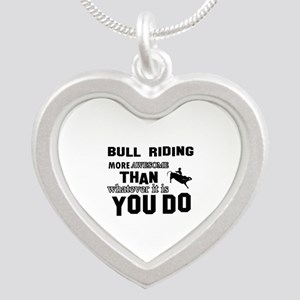 Bull Riding More Awesome Tha Silver Heart Necklace